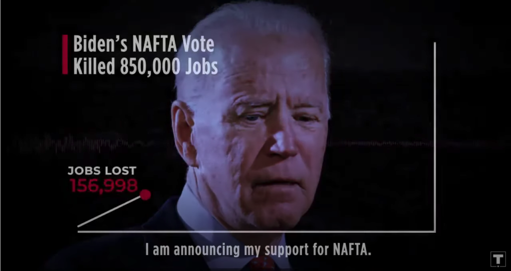Biden's Vote for NAFTA Killed 850,000 Jobs